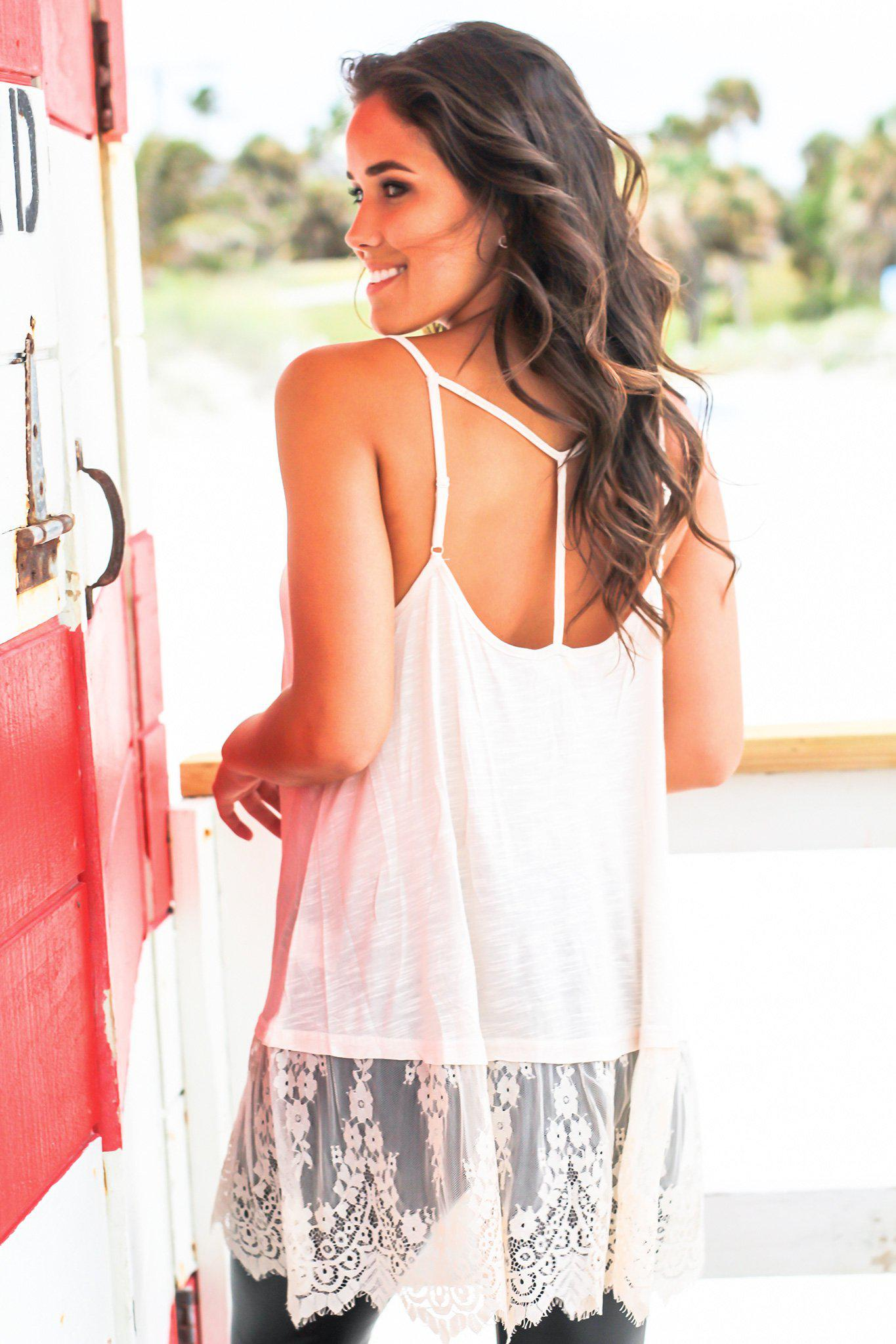 Natural Strappy Top with Lace Detail