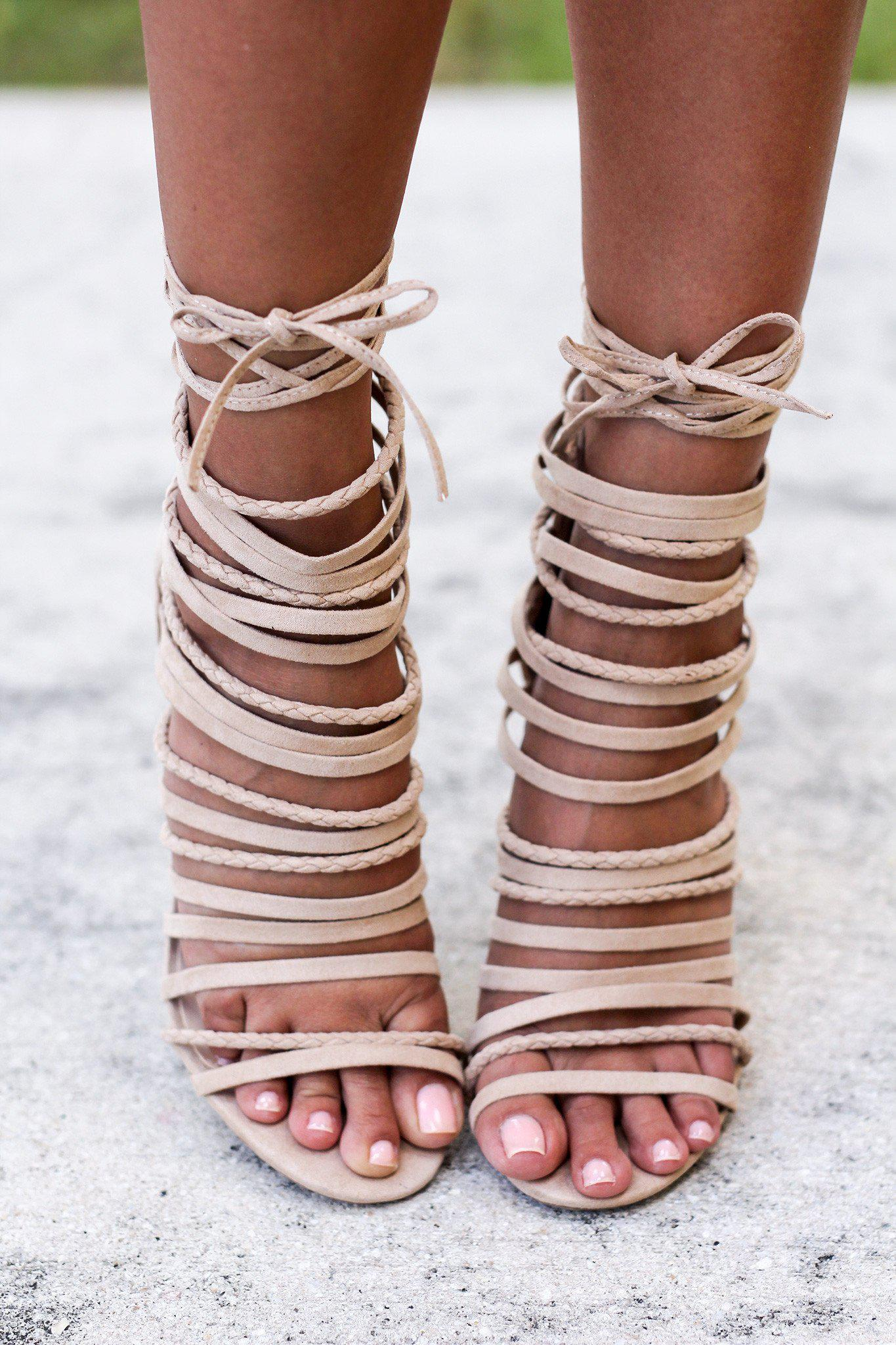 Natural Suede Strappy Heels