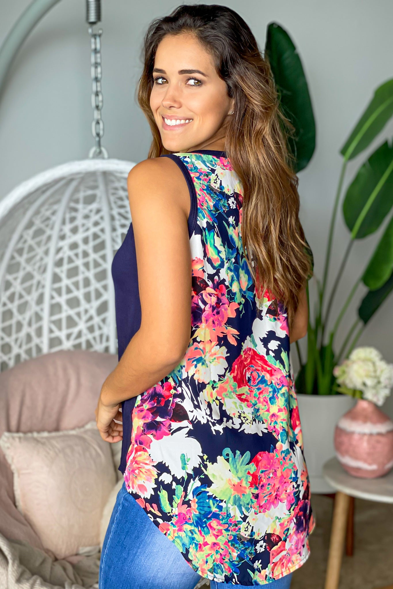 navy sleeveless floral top