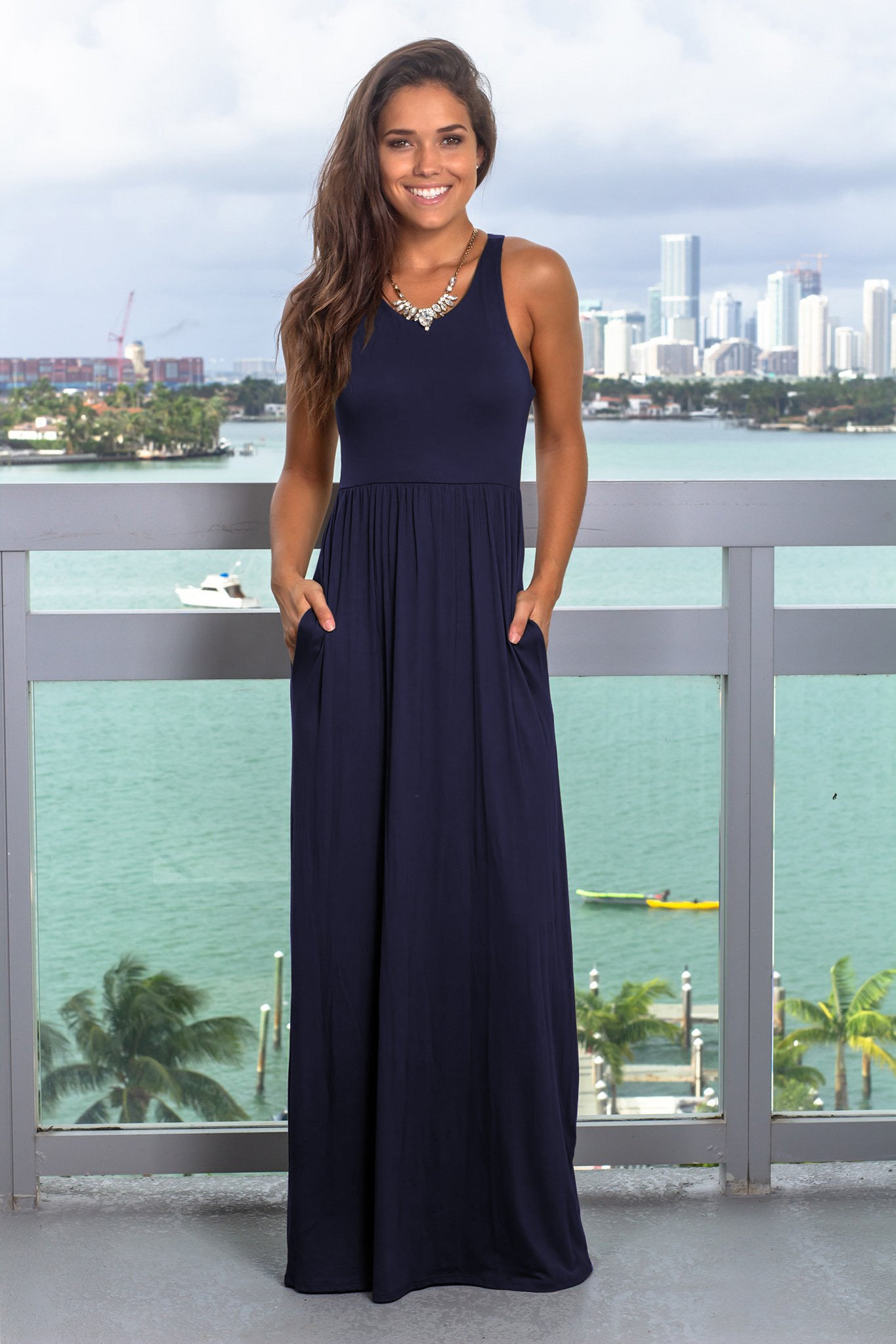 Navy Maxi Dress with Pockets