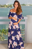 Navy Off Shoulder Floral Maternity Maxi Dress