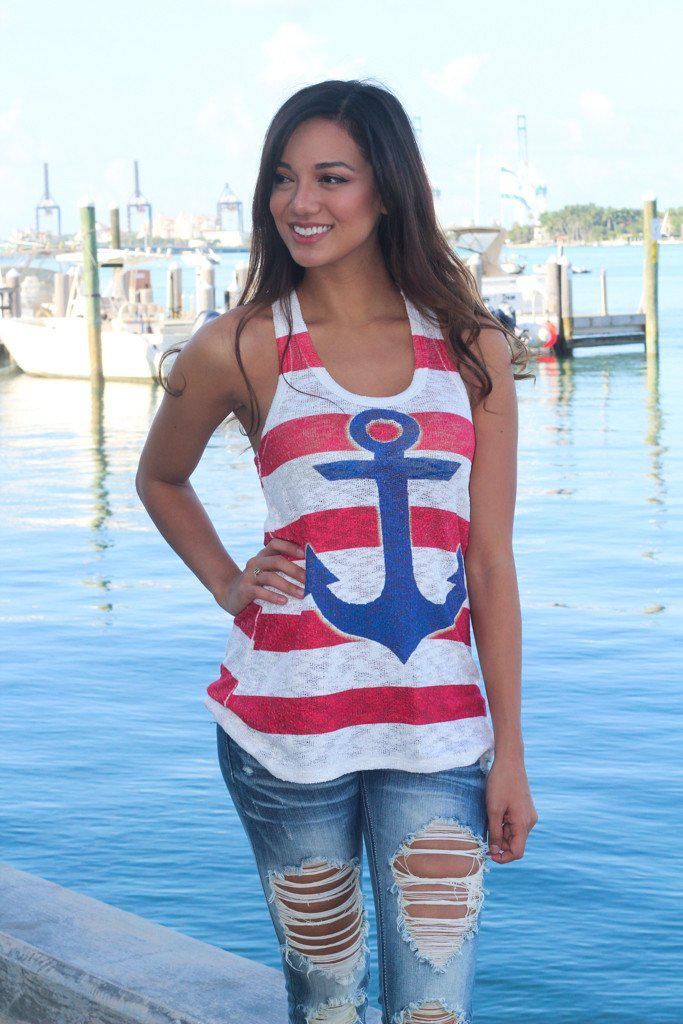 navy and red anchor tank top