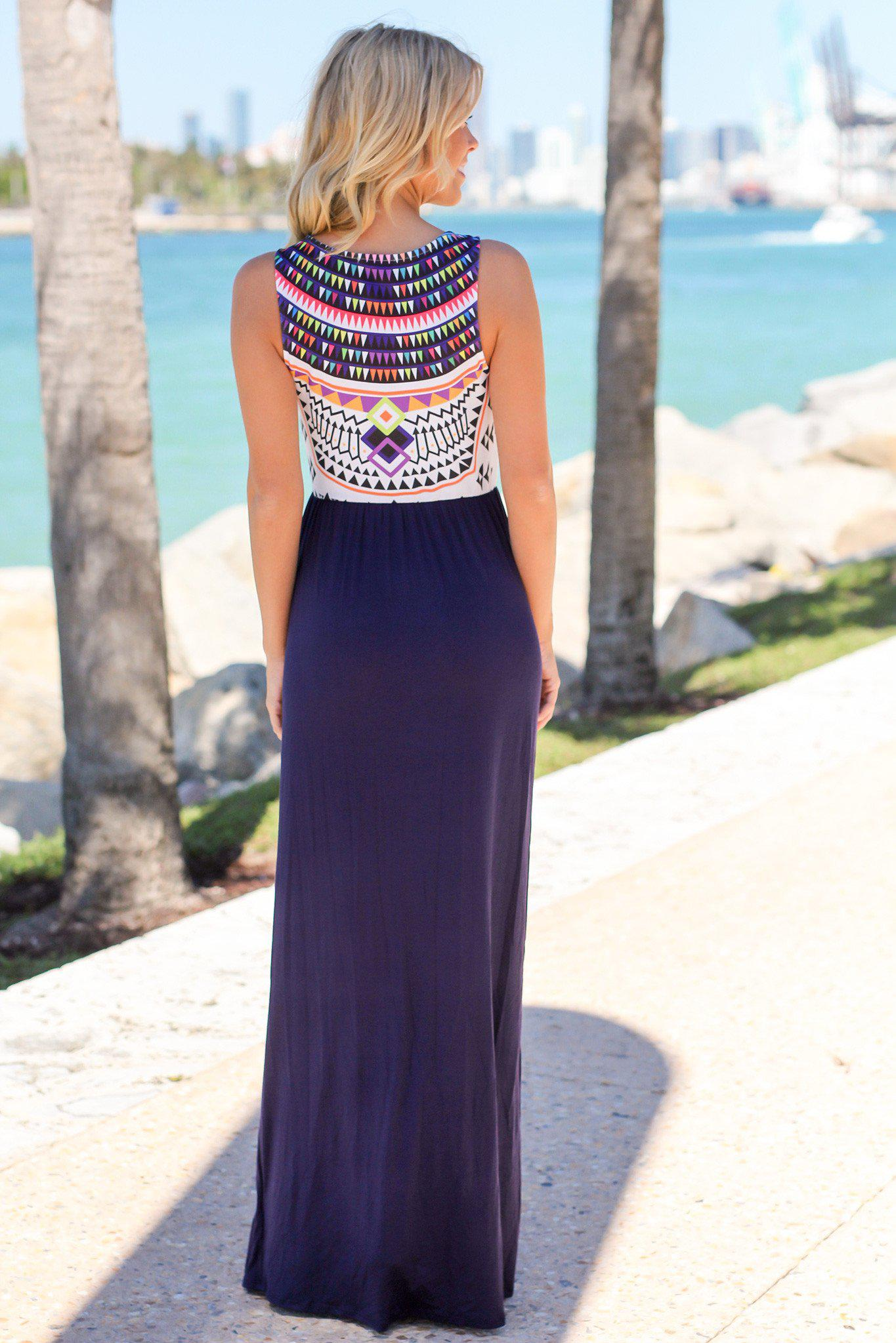 Navy Aztec Print Maxi Dress