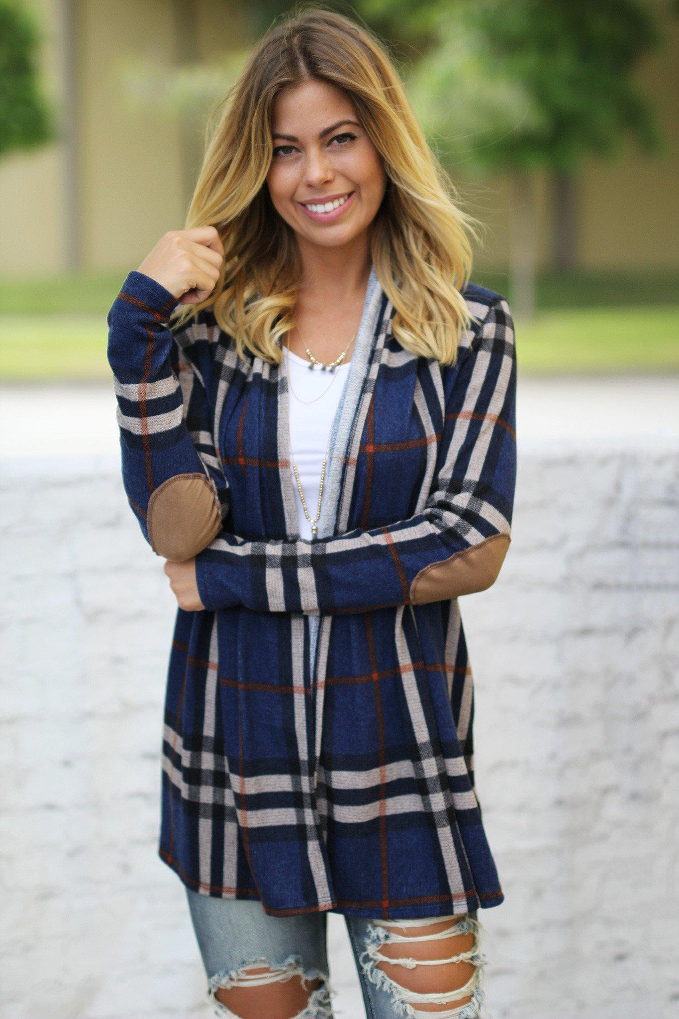 plaid navy cardigan