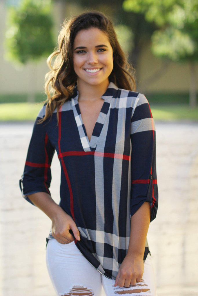 Navy check print 3/4 sleeve top