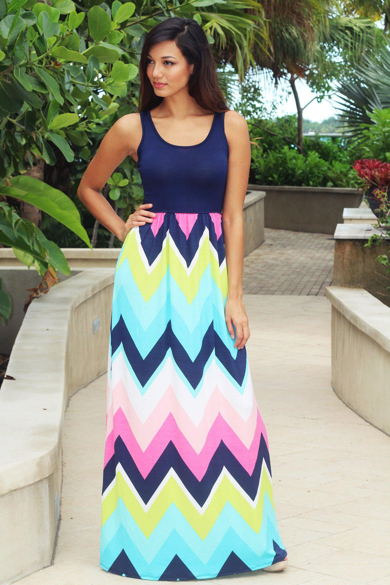 Navy Chevron Maxi Dress