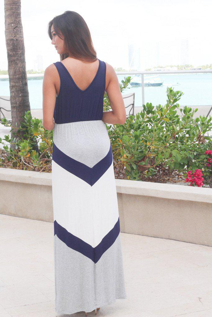 Navy And Gray Chevron Maxi Dress