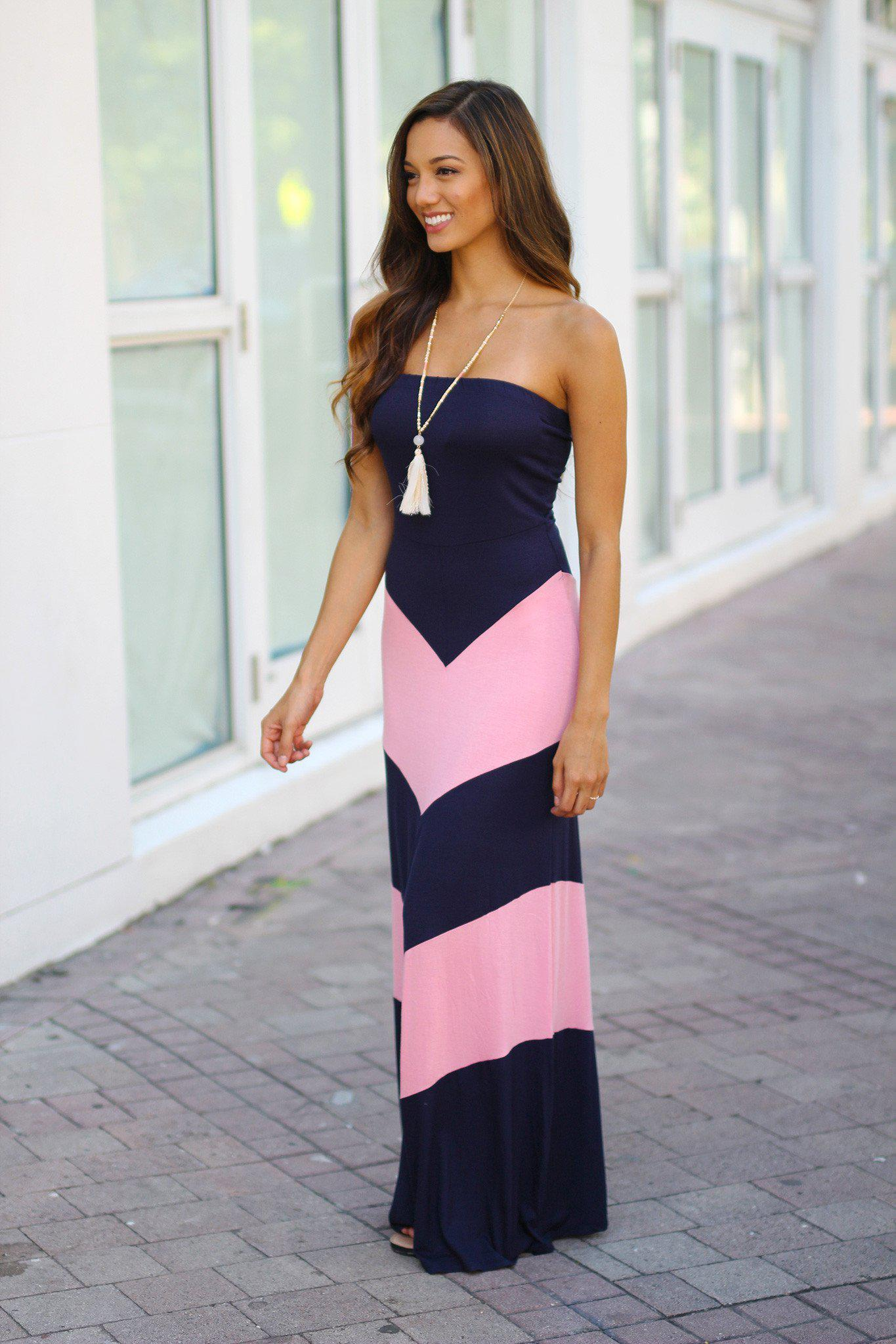 Navy and Pink Chevron Maxi Dress