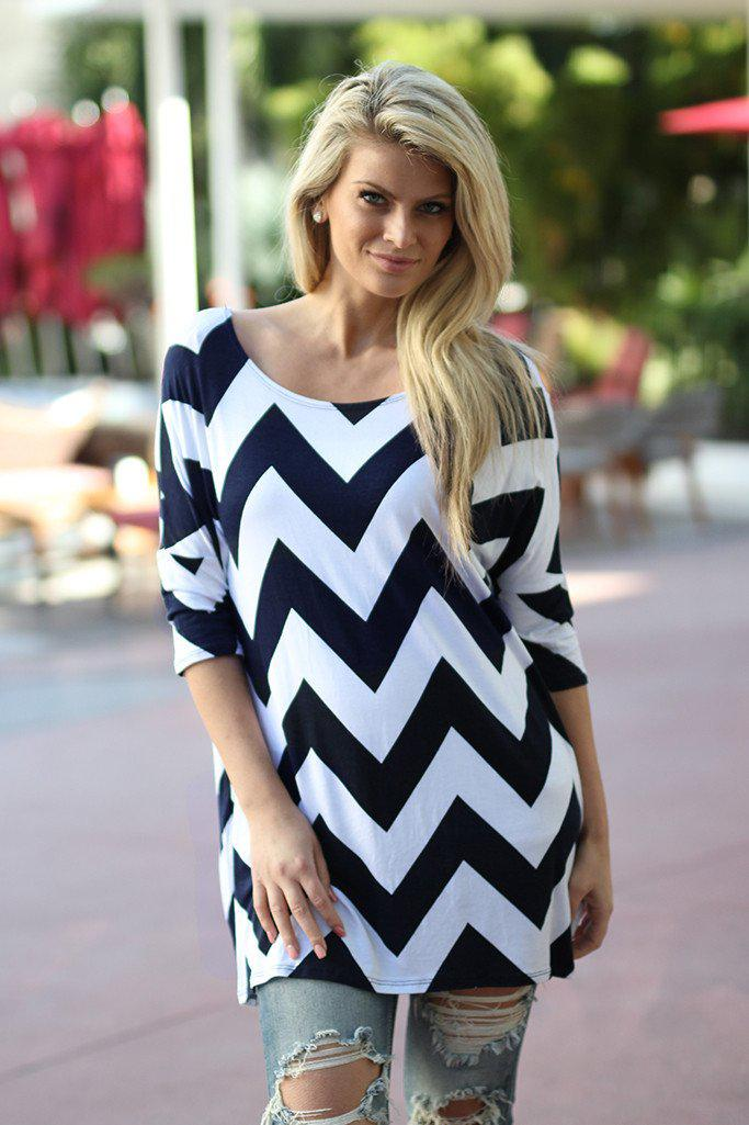 Navy Chevron Top