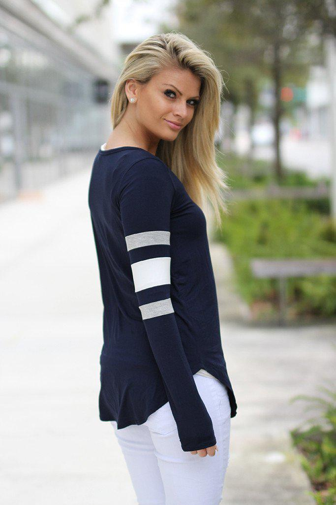 Navy Top with Color Block Sleeves