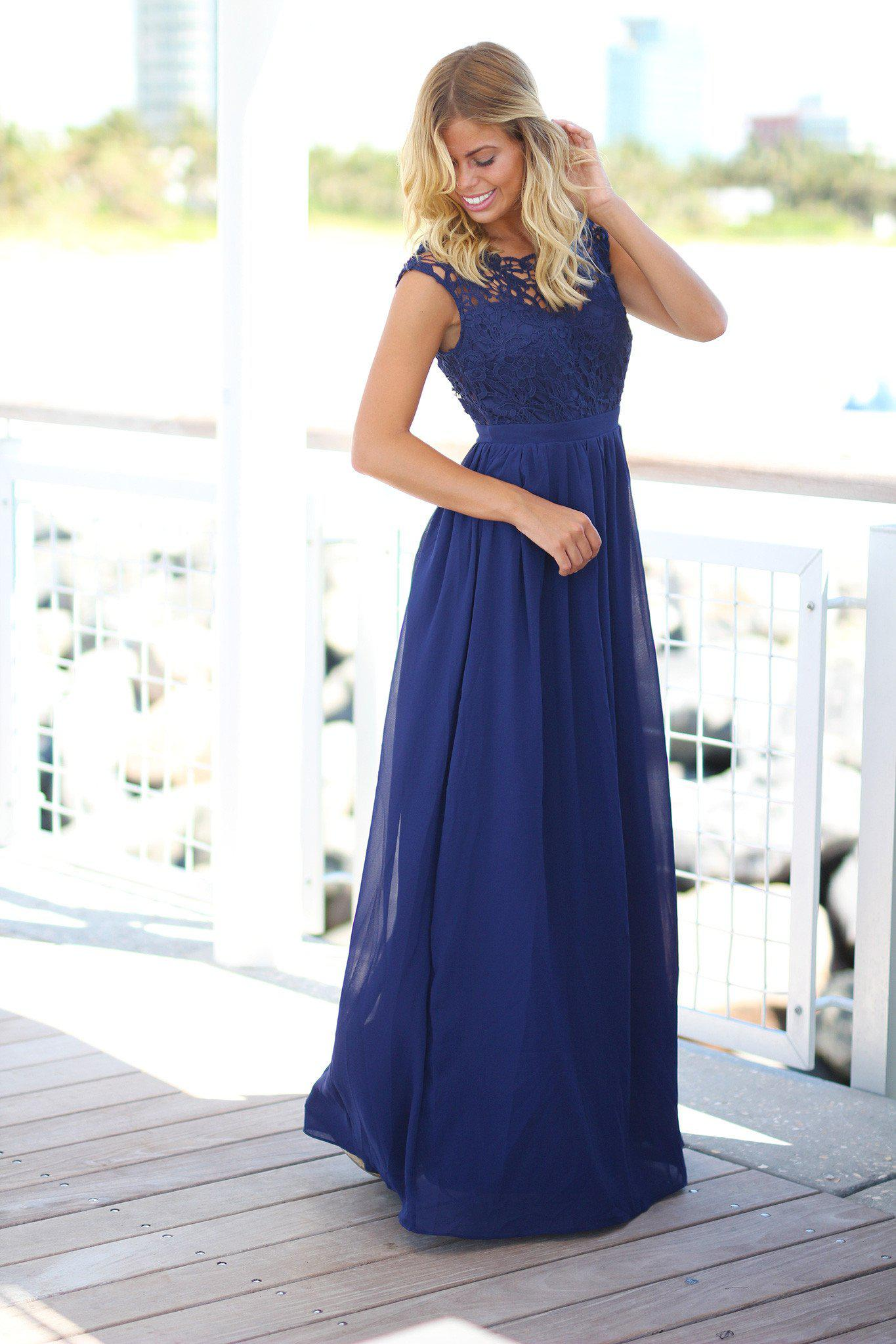Navy crochet maxi dress with tulle back bridesmaid dresses bridesmaid dresses ombrellifo Choice Image
