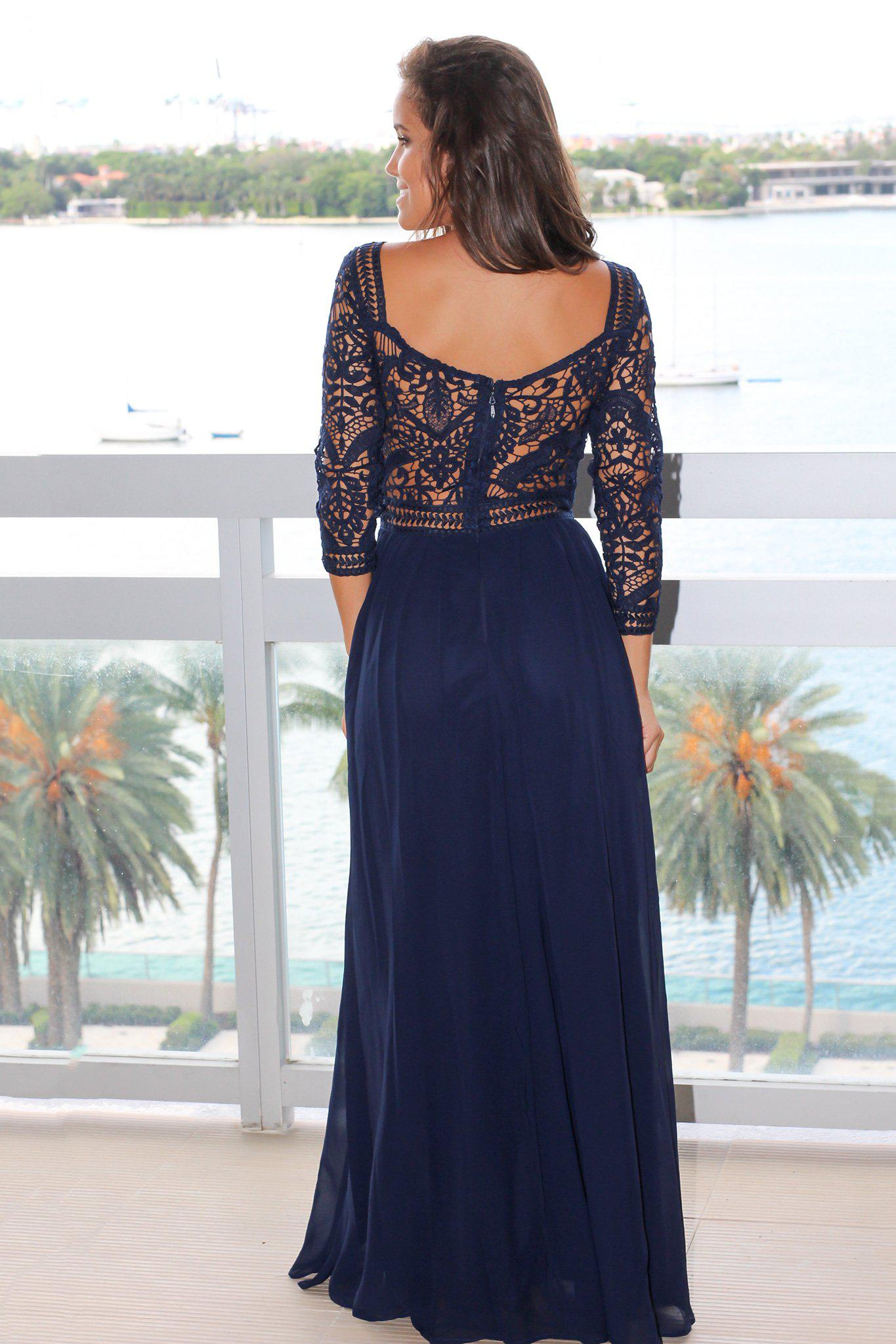 Navy Crochet Maxi Dress with 3/4 Sleeves