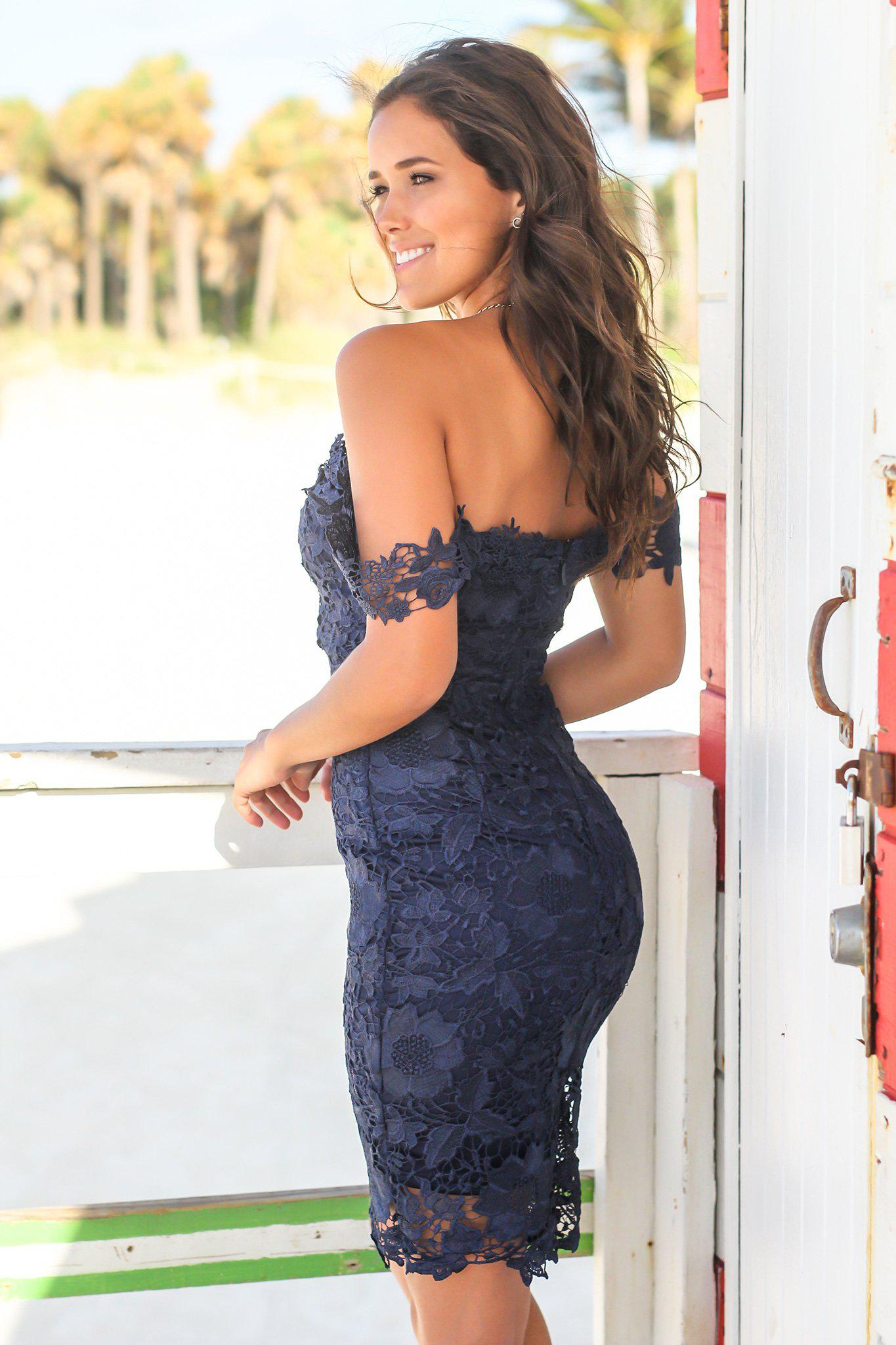 Navy Crochet Off Shoulder Short Dress