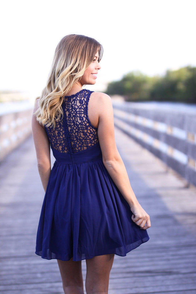 Navy Crochet Short Dress