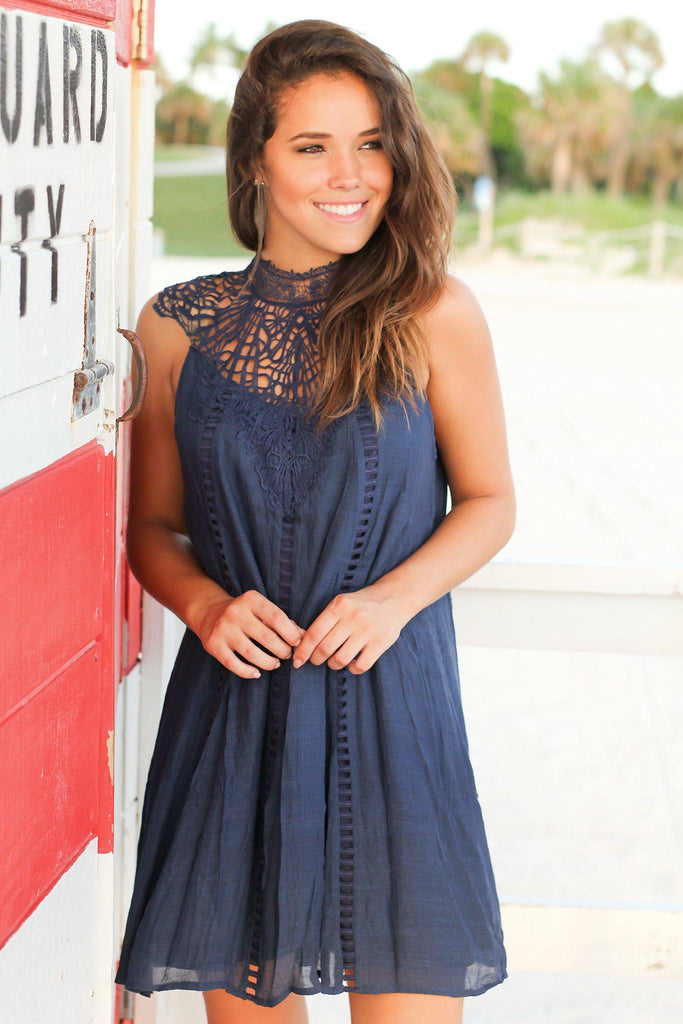 Navy Crochet Short Dress with Cut Out Detail