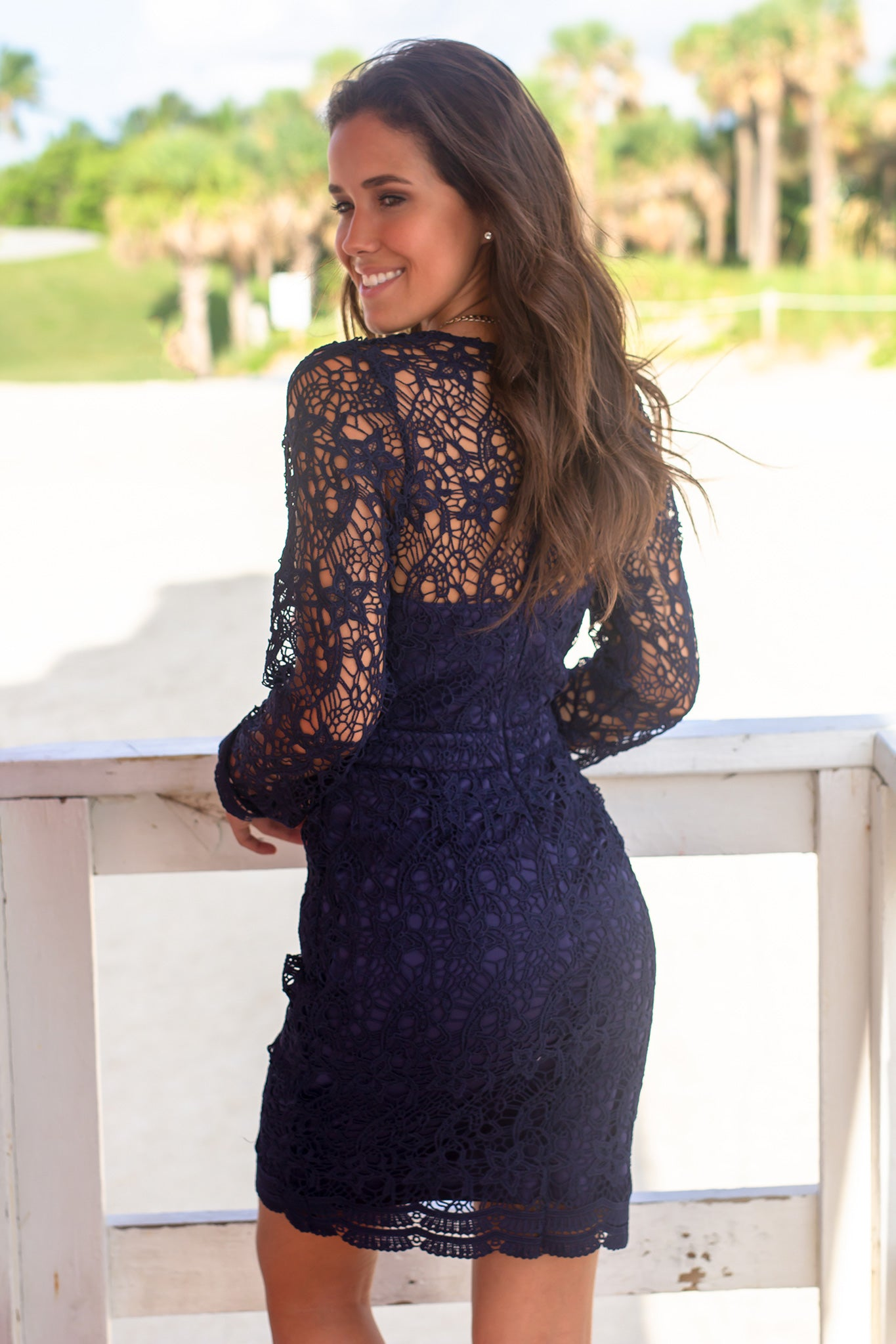 Navy Crochet Short Dress with Long Sleeves