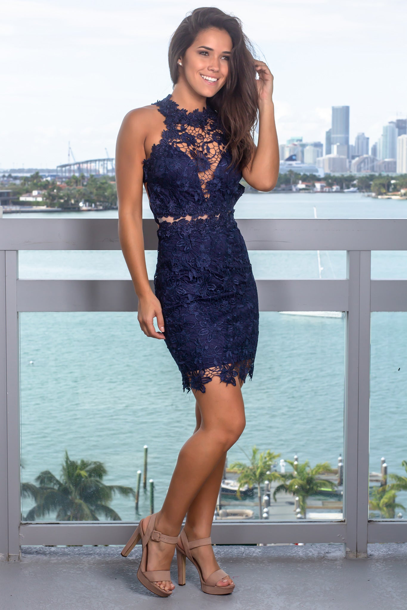 Navy Crochet Short Dress with Strappy Back