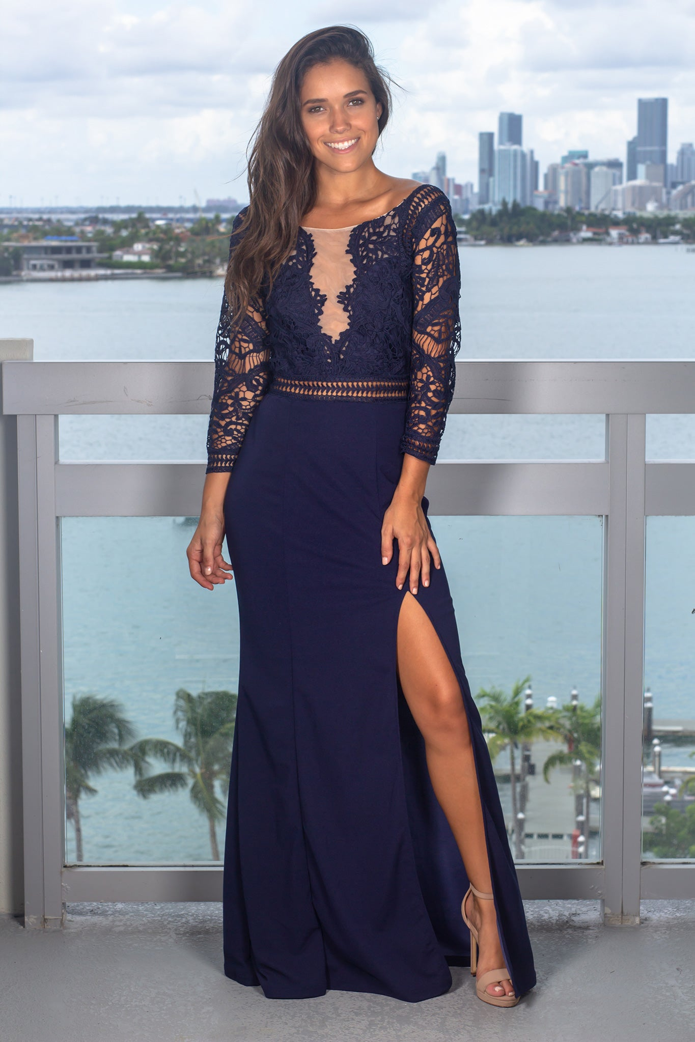 Navy Crochet Top Maxi Dress with 3/4 Sleeves and Side Slit
