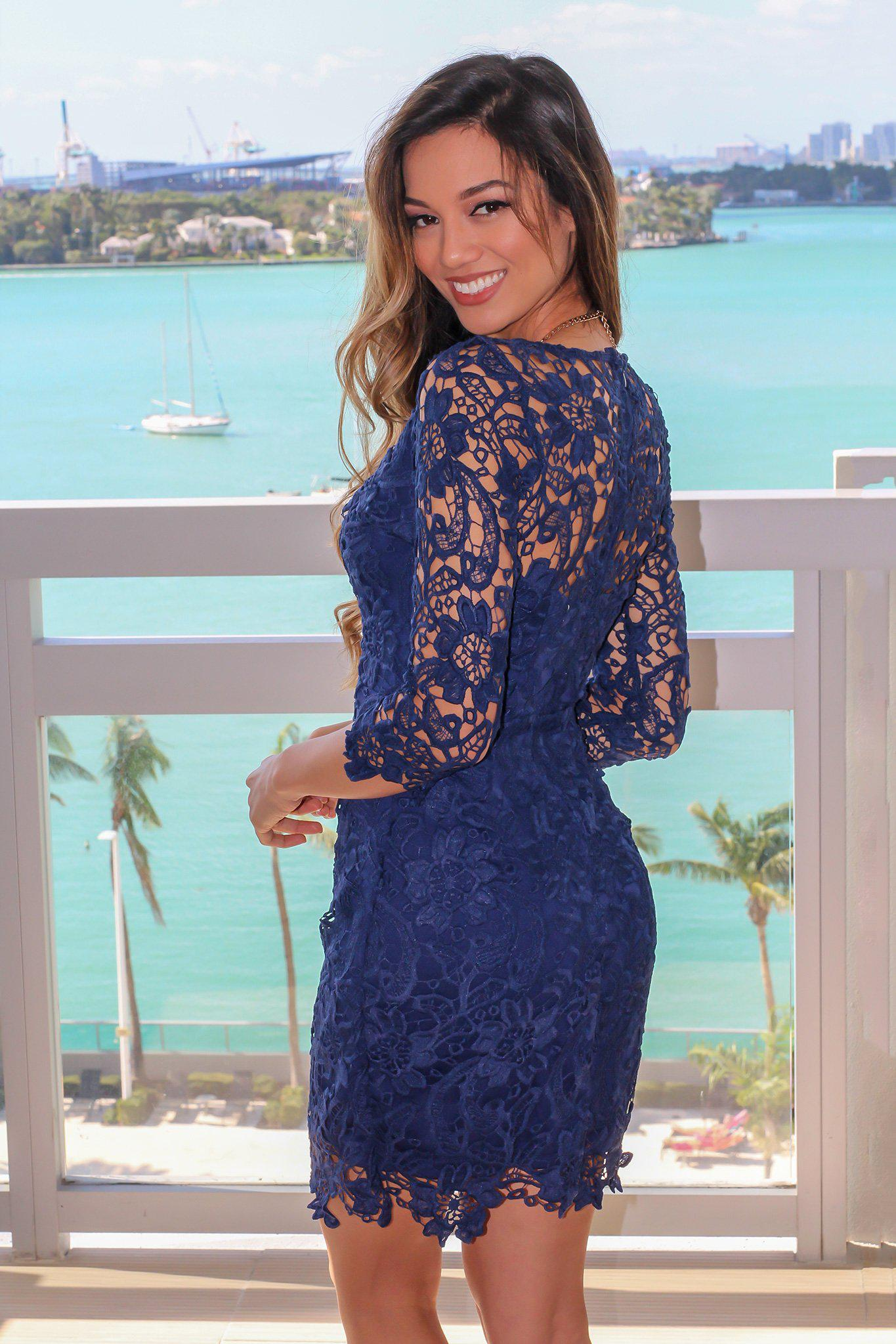 Navy Crochet V-Neck Short Dress with 3/4 Sleeves