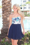 Navy Short Dress With Floral Top