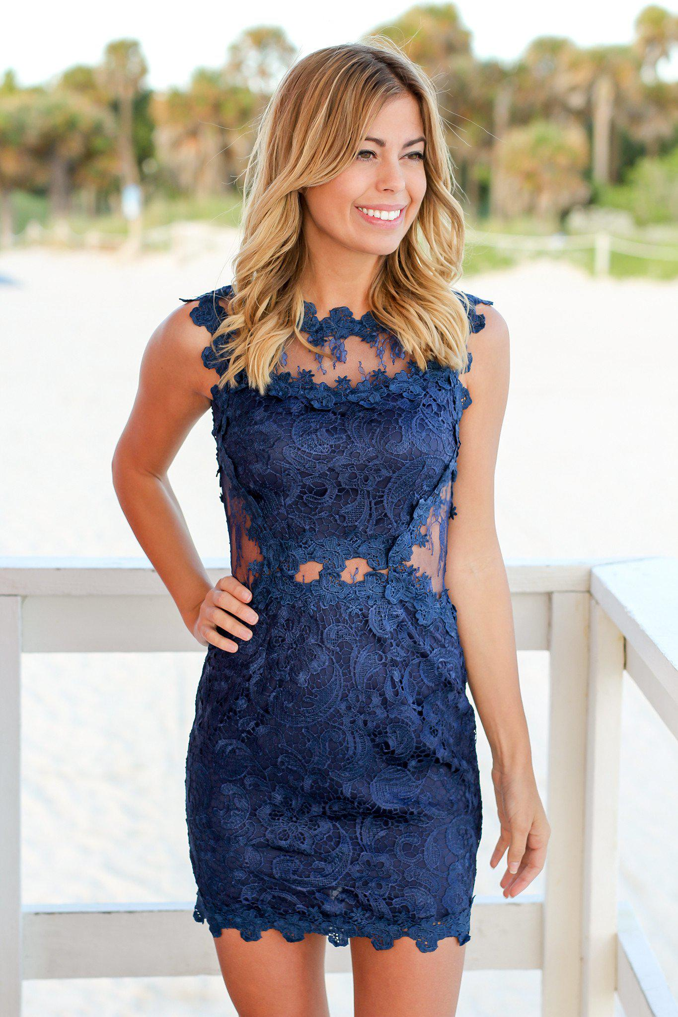 Navy Lace High Neck Short Dress | Navy Short Dress | Cocktail ...