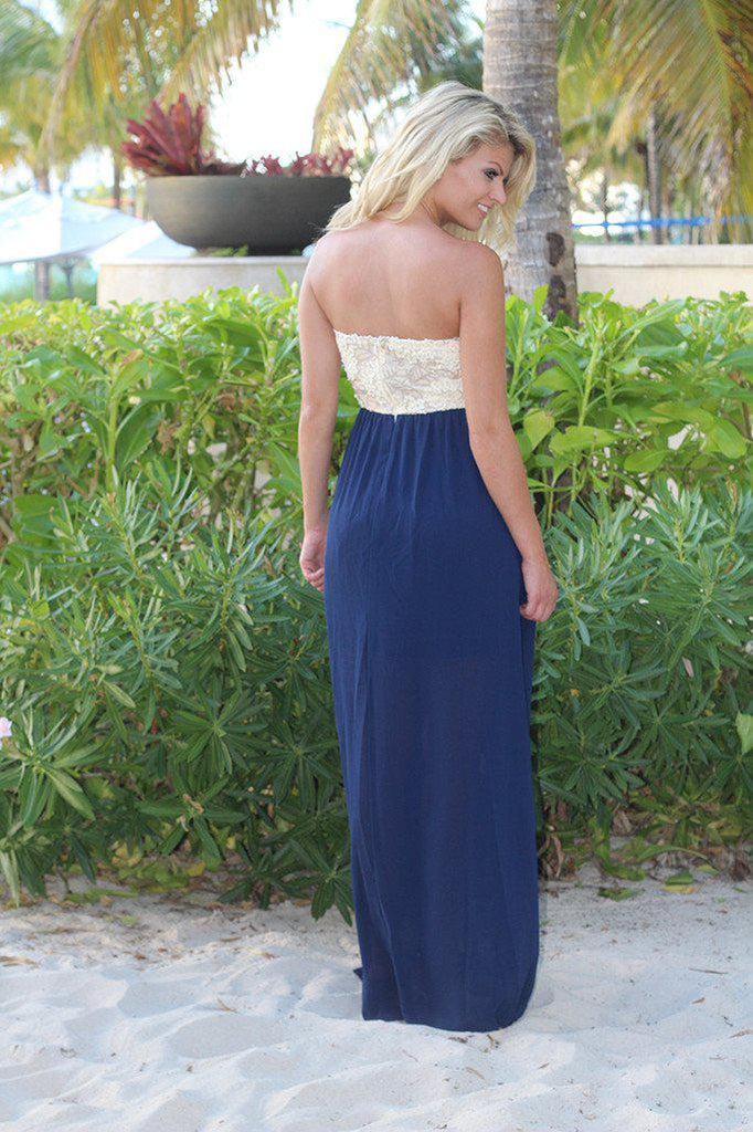 Navy Maxi Dress with Sequin Top
