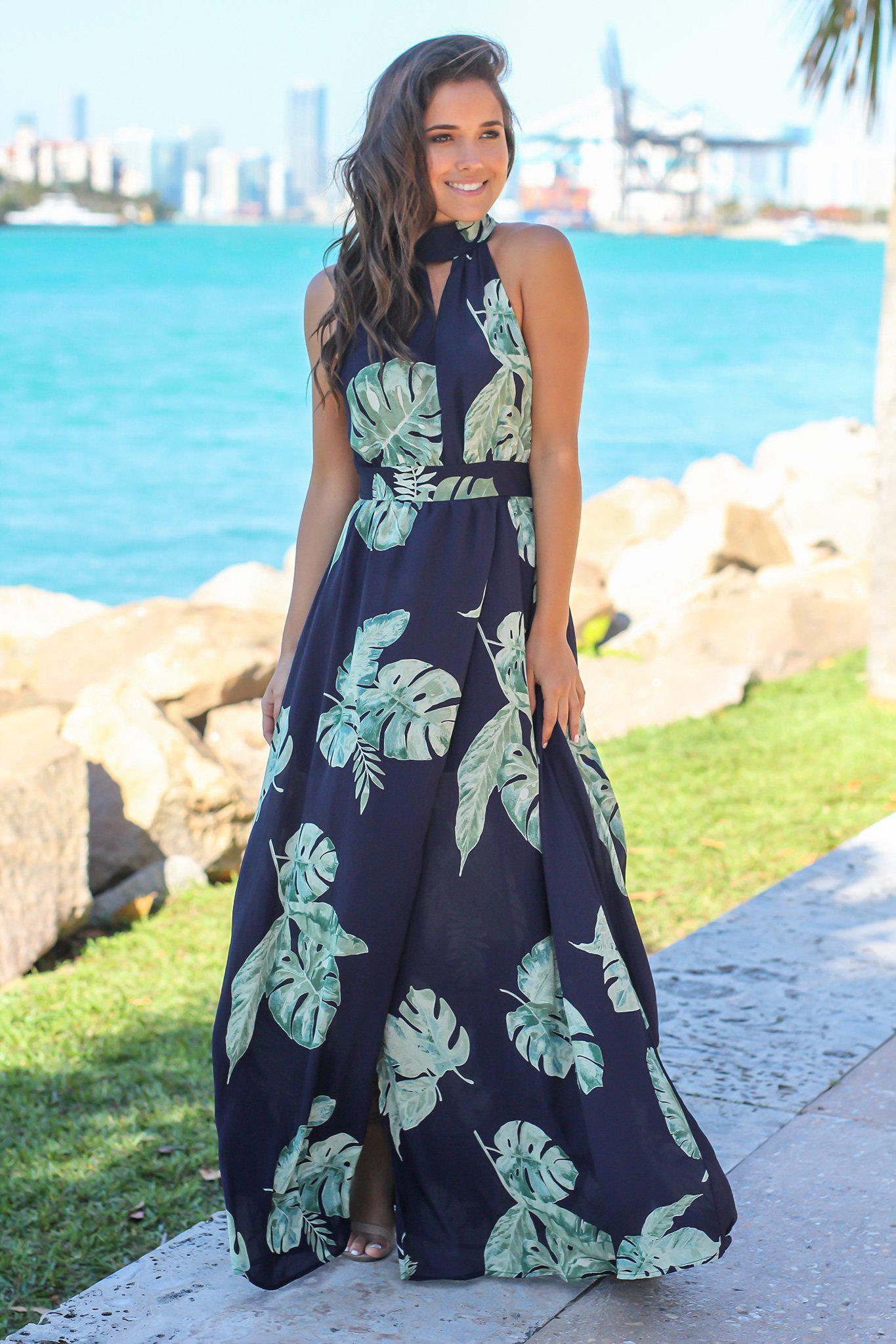 Navy Printed Maxi Dress with Open Back | Maxi Dresses – Saved by the ...