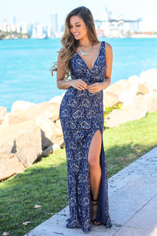 Navy Maxi Dress with Silver Lace Detail