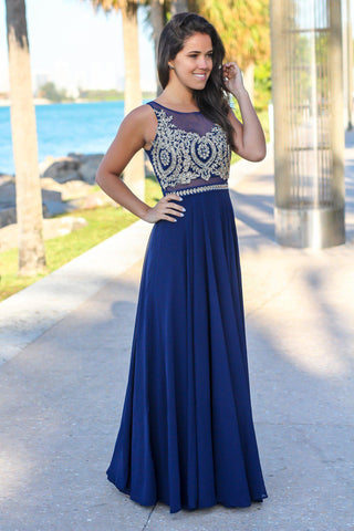 Navy Maxi Dress with Gold Embroidered Top