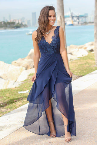 Navy Maxi Dress with Embroidered Top