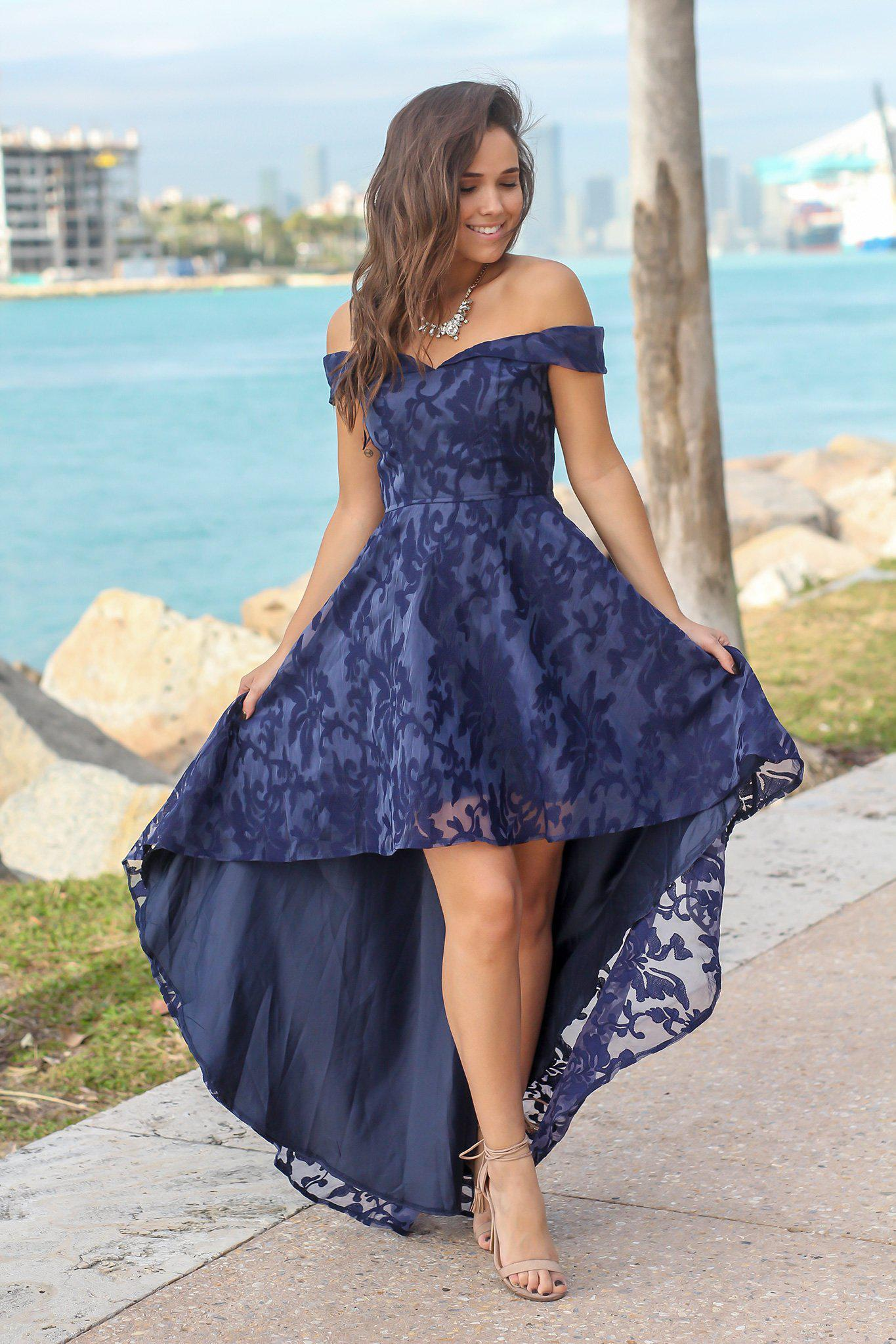 4f6d76420a Navy Dresses  Dress Boutiques  High Low Dresses  Beautiful Dresses  Navy Off  Shoulder Printed High Low Dress  Boutique Clothing