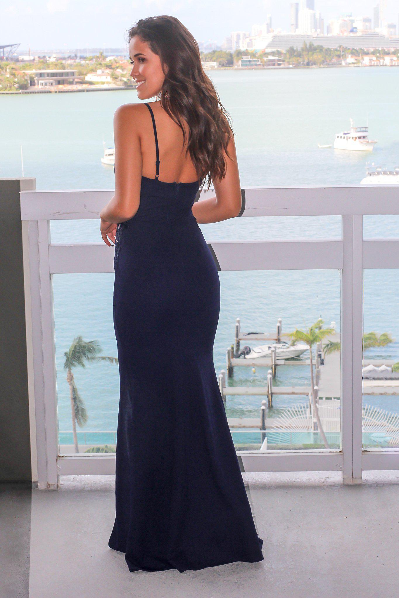 Navy Embroidered Maxi Dress with Side Slit