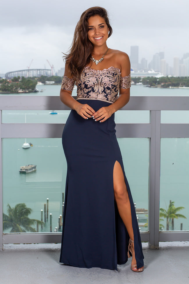 Navy Embroidered Off Shoulder Maxi Dress with Jewel Detail