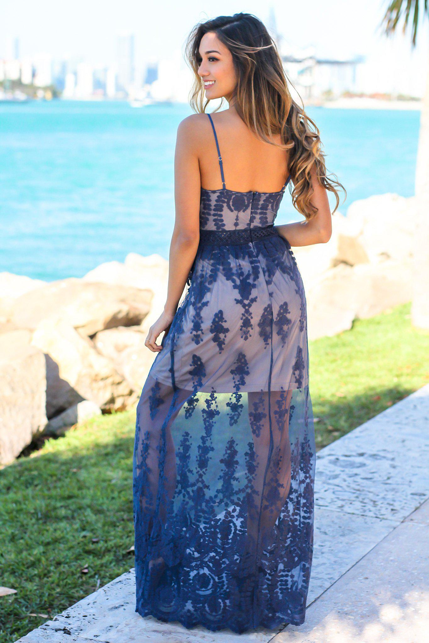 Navy Embroidered Sleeveless Maxi Dress