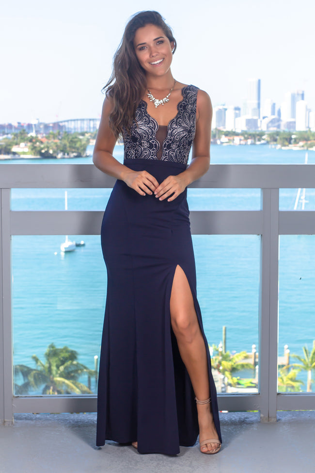 9e876f88bc White Printed High Low Wrap Dress · Quick View · Navy Embroidered Top Maxi  Dress with Side Slit