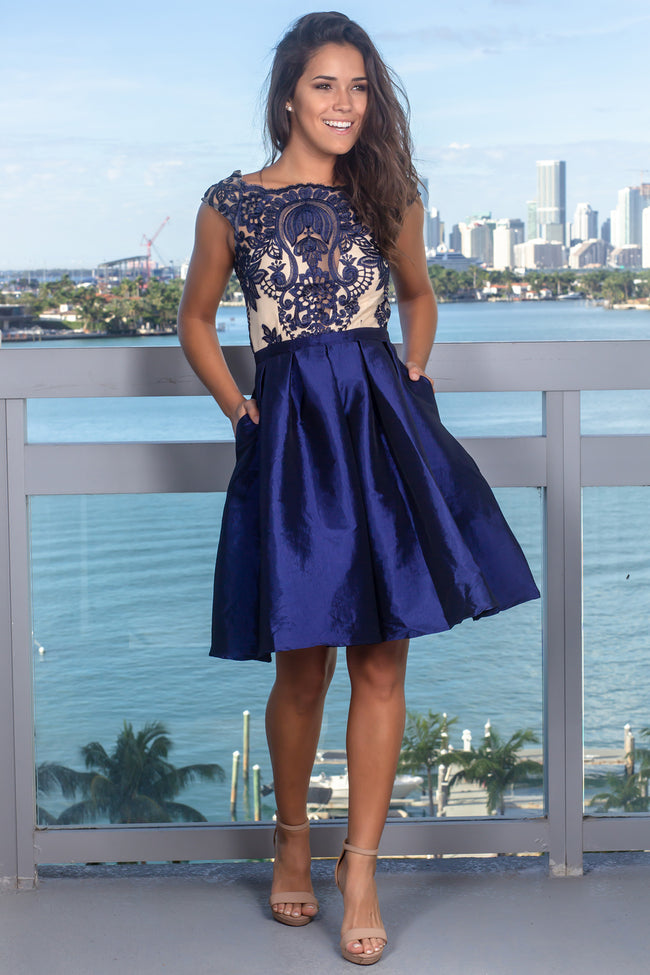 Navy Embroidered Top Short Dress with Pockets