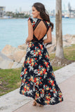 Navy Floral High Low Dress with Open Back