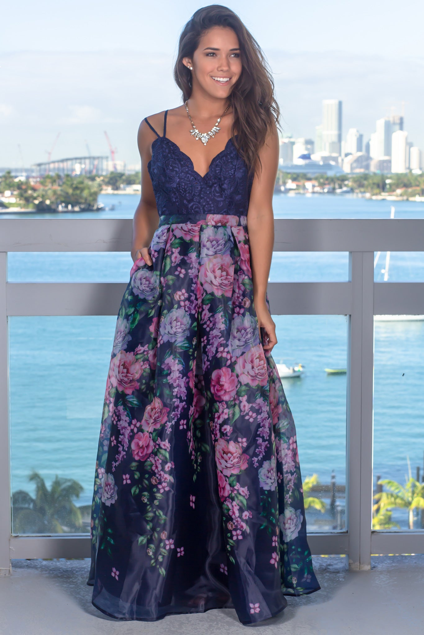 249aa30576 Navy Floral Maxi Dress with Embroidered Top