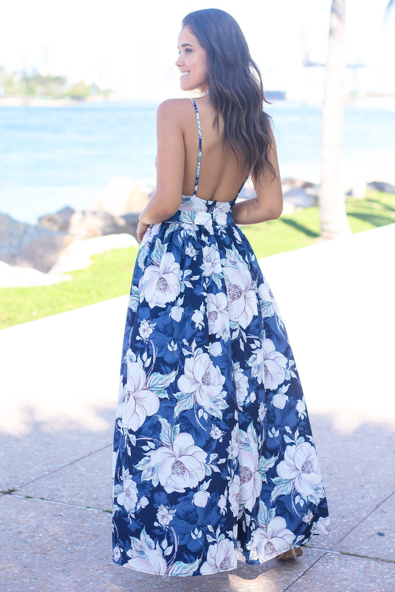 Navy Floral Maxi Dress with Open Back and Side Slits