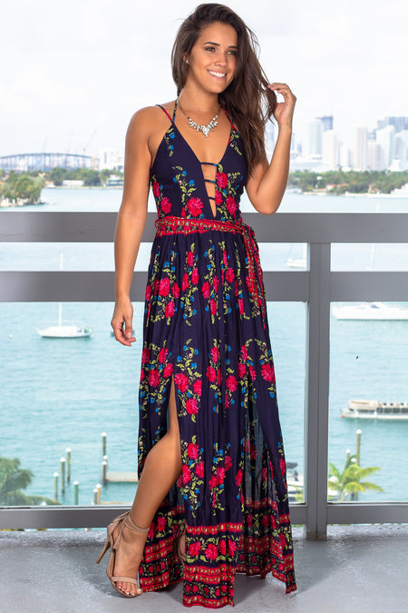 Navy Floral Maxi Dress with Tie Waist