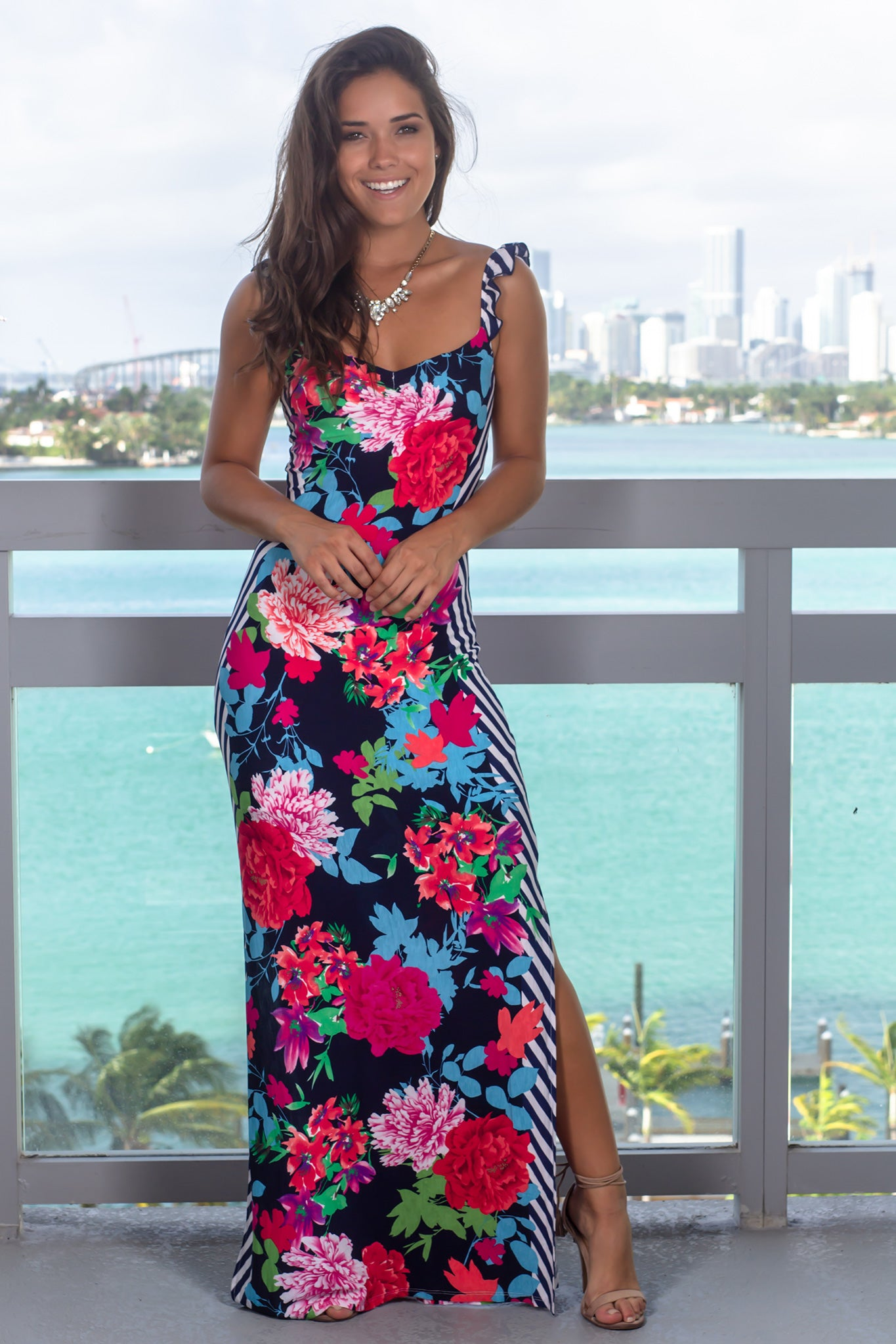 167513e096 Navy Floral Maxi Dress with Two Slits | Maxi Dresses – Saved by the Dress