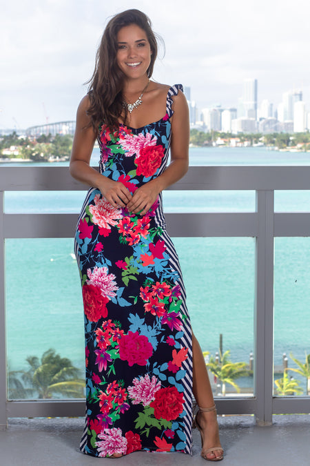Navy Floral Maxi Dress with Two Slits