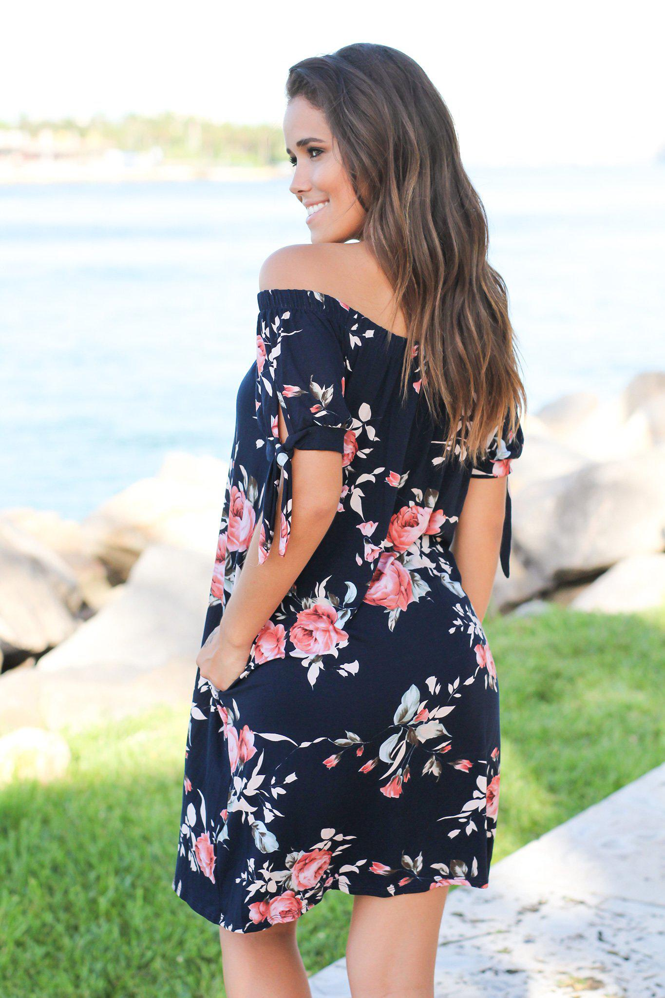 Navy Floral Off Shoulder Short Dress