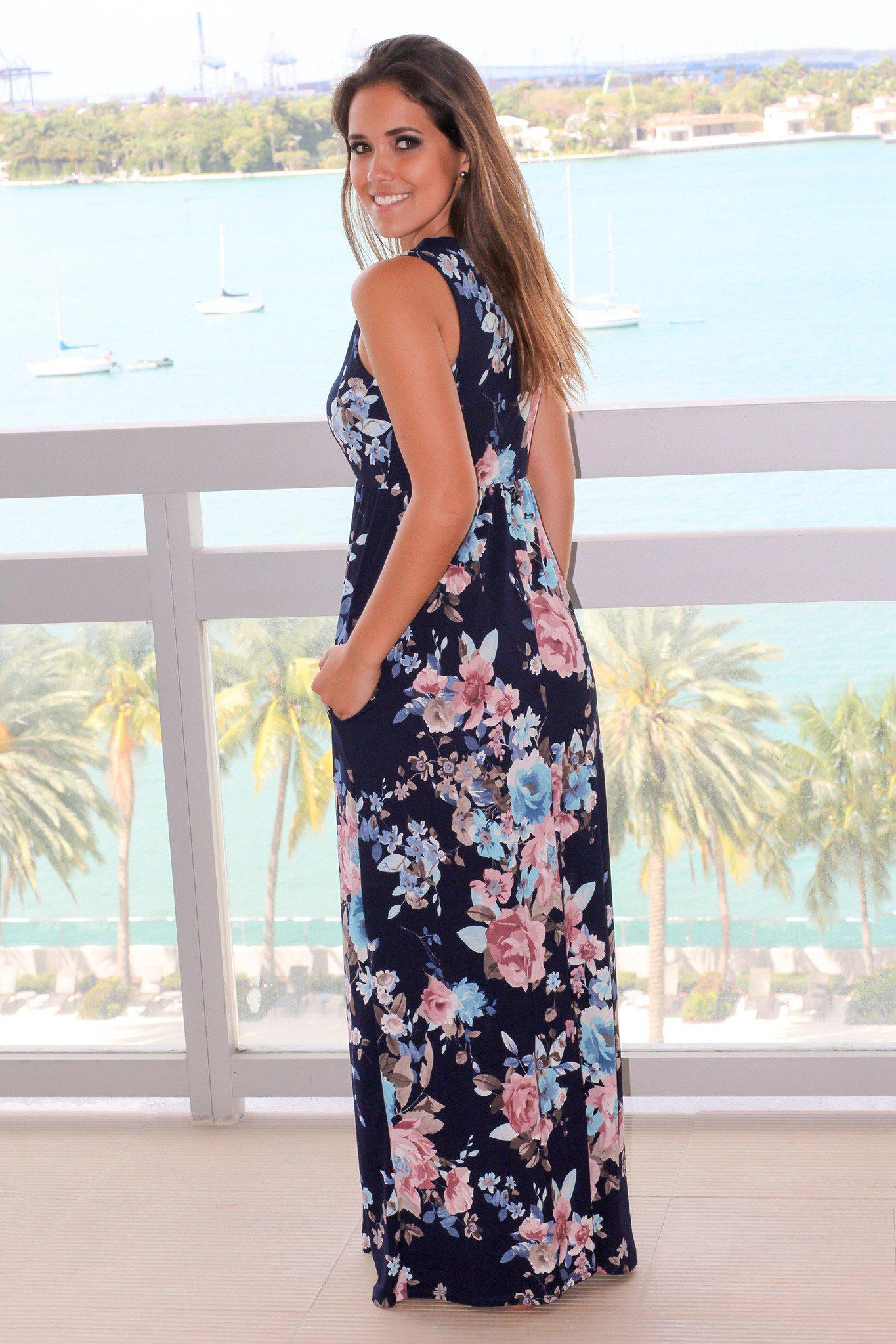 Navy Floral Print Maxi Dress with Pockets