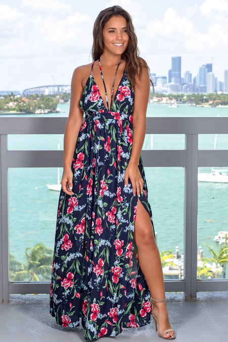 Navy Floral Printed Maxi Dress with Criss Cross Back