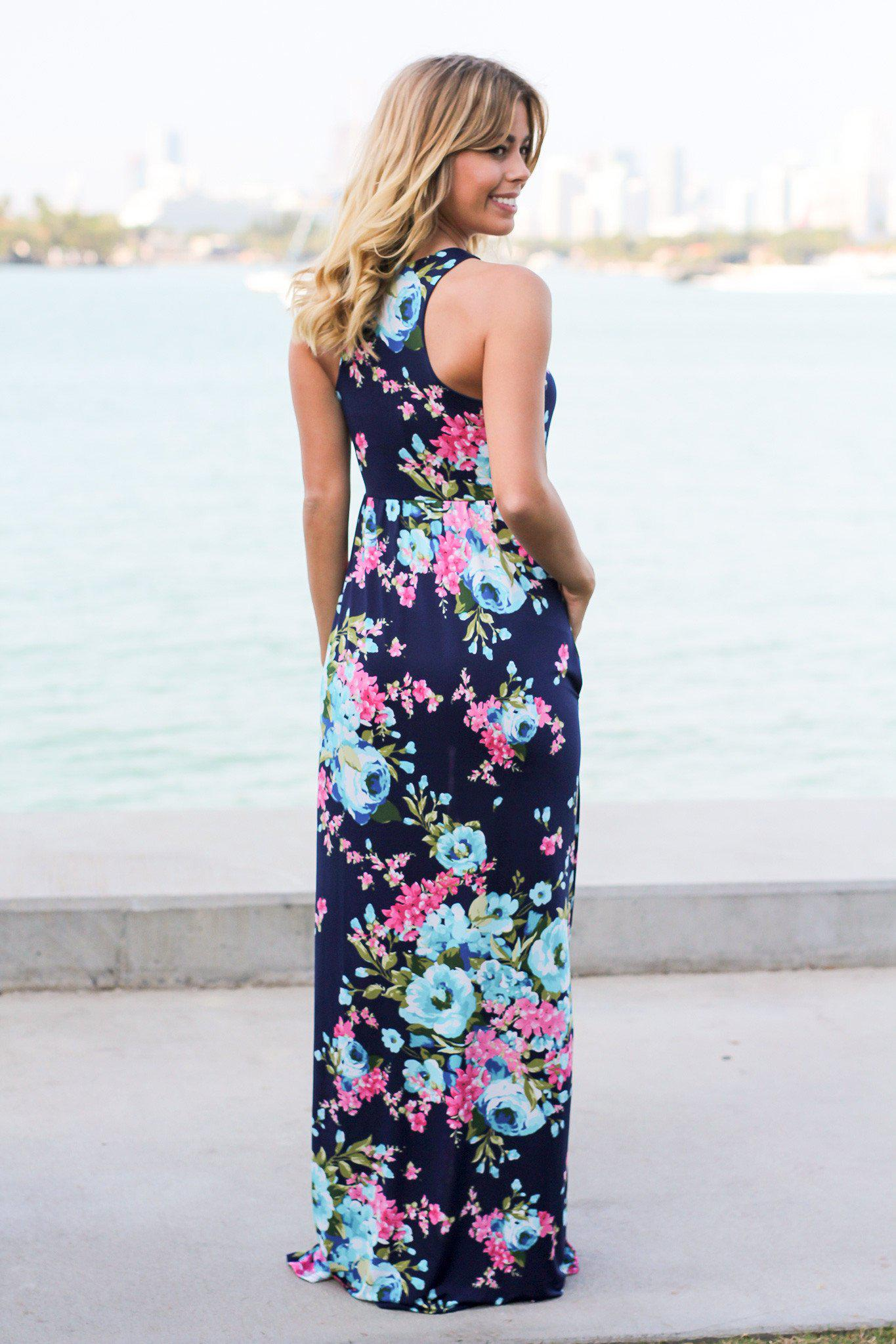 Navy Floral Racerback Maxi Dress