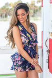 Navy Floral Romper with Open Back