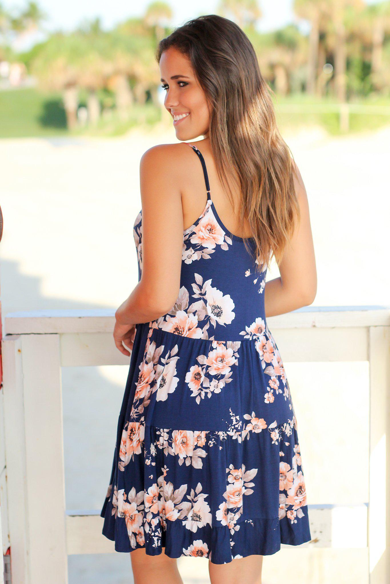 Navy Floral Ruffled Swing Dress