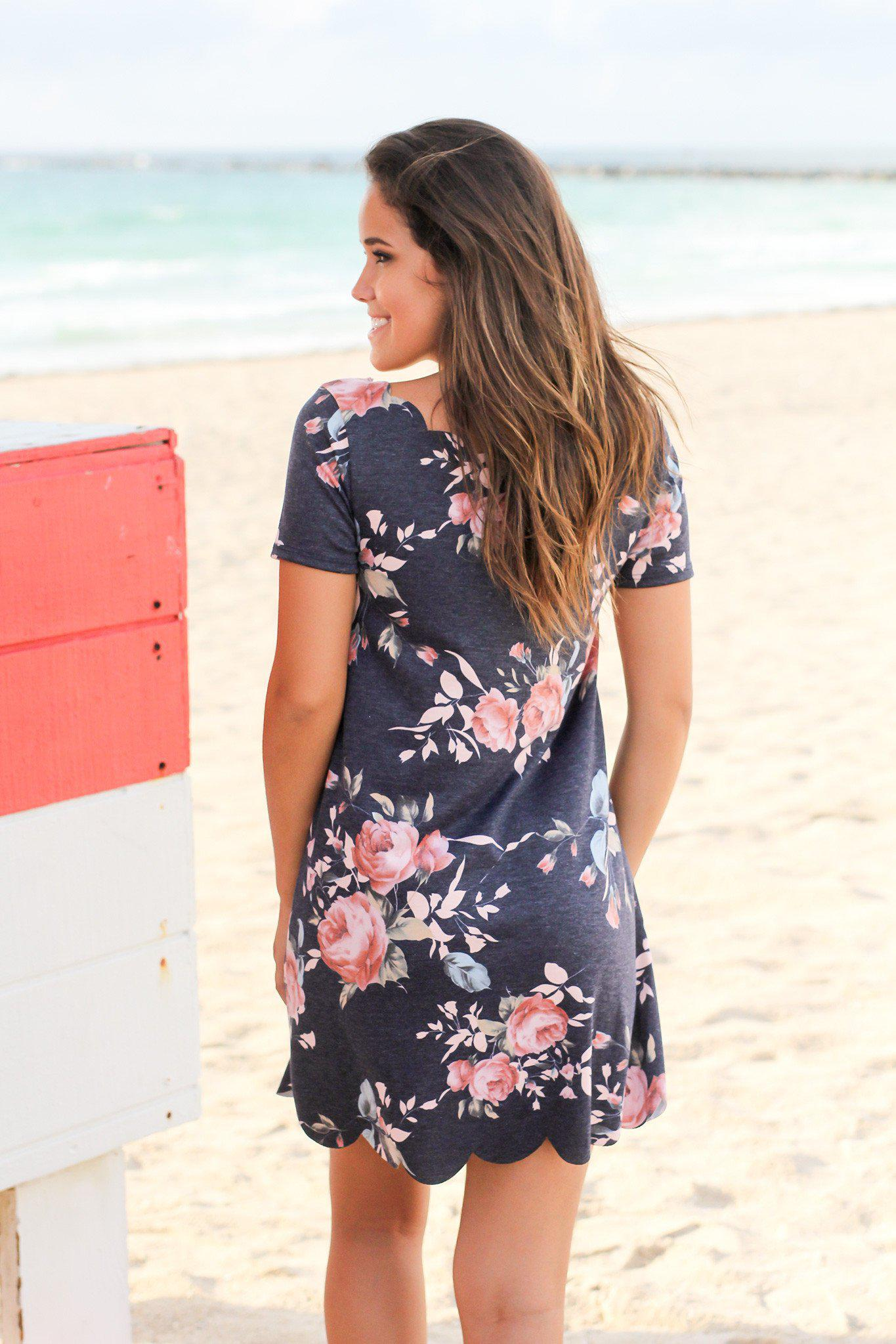 Navy Floral Scalloped Short Dress