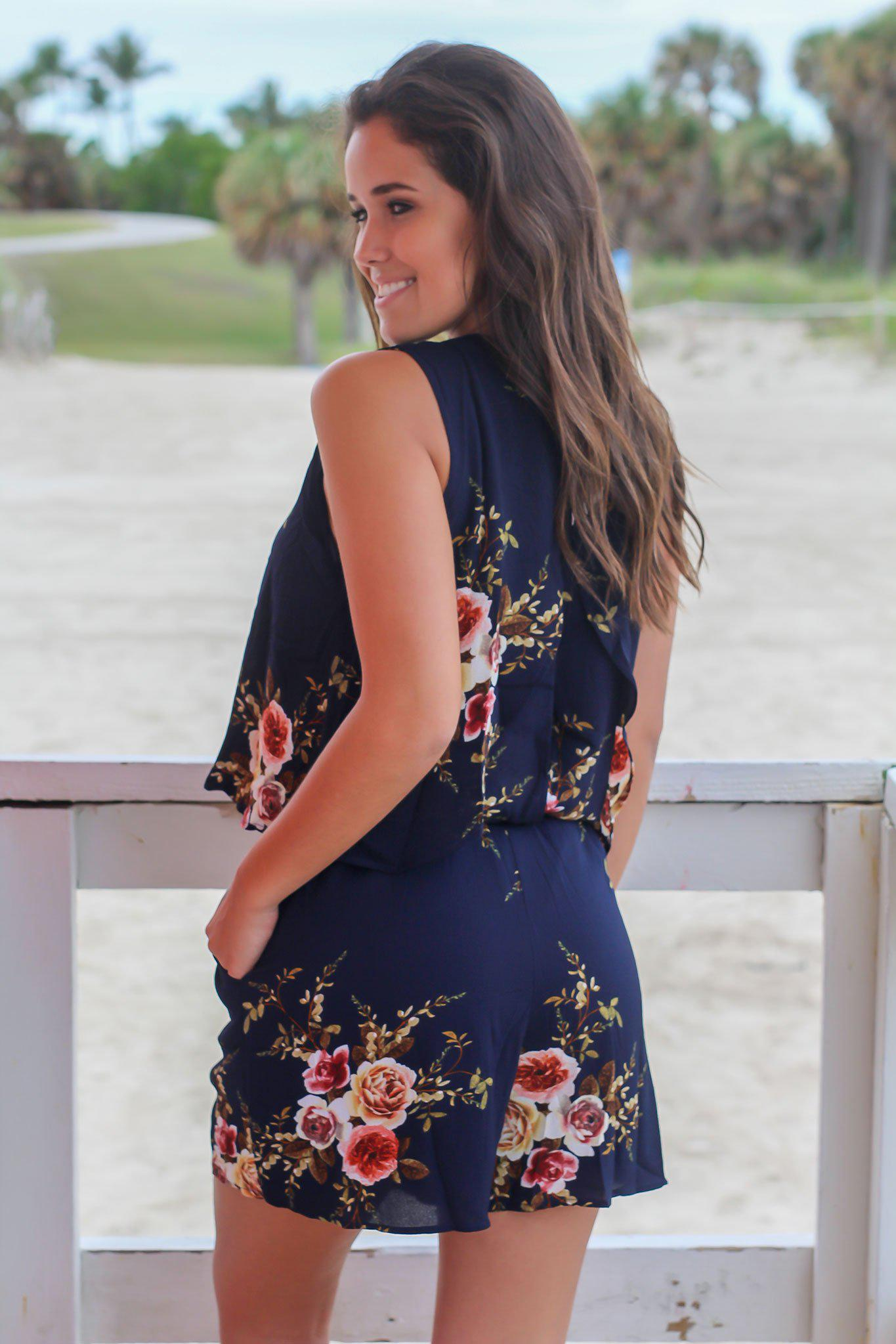 Navy Floral Sleeveless Romper